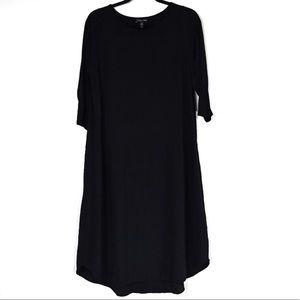 Eileen Fisher Silk Long Sleeves Shift Dress Blk L